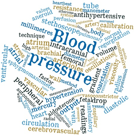 brachial: Abstract word cloud for Blood pressure with related tags and terms Stock Photo