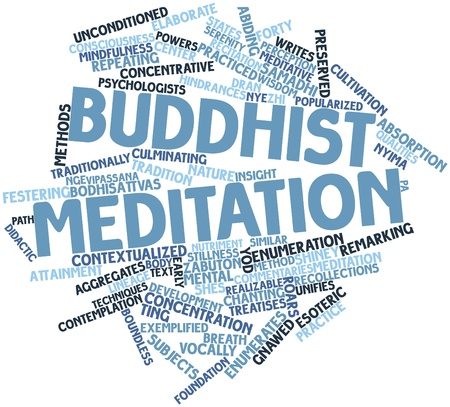 Abstract word cloud for Buddhist meditation with related tags and terms Stock Photo