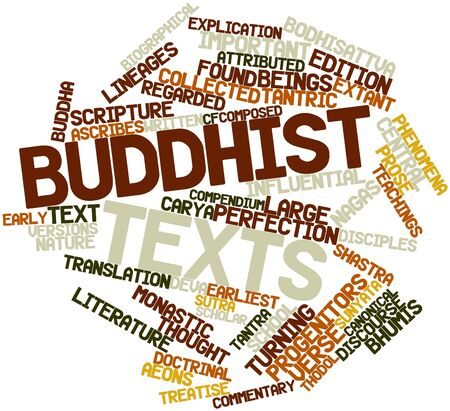 Abstract word cloud for Buddhist texts with related tags and terms Stock Photo - 16631691