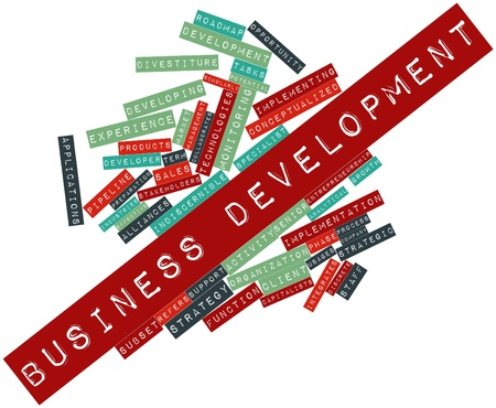 Abstract word cloud for Business development with related tags and terms Stock Photo