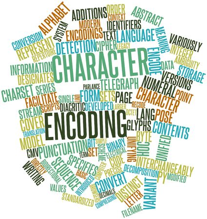 parlance: Abstract word cloud for Character encoding with related tags and terms