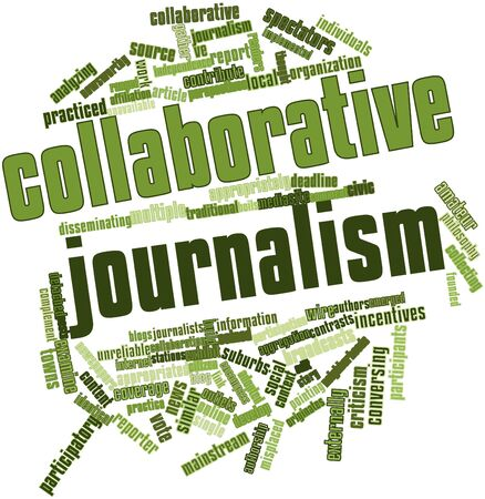 boils: Abstract word cloud for Collaborative journalism with related tags and terms