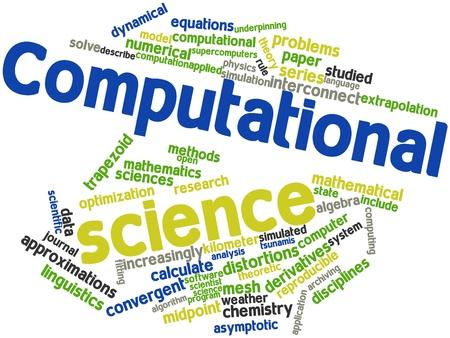 関連するタグと用語と計算科学の抽象的な単語雲 写真素材