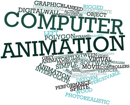 animator: Abstract word cloud for Computer animation with related tags and terms