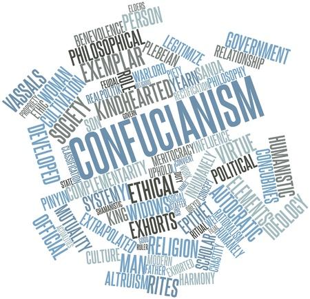 Abstraktes Wort-Wolke für Konfuzianismus verwandte Tags und Begriffe Standard-Bild