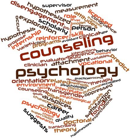 supervisión: Nube palabra abstracta para el asesoramiento psicología con las etiquetas y términos relacionados