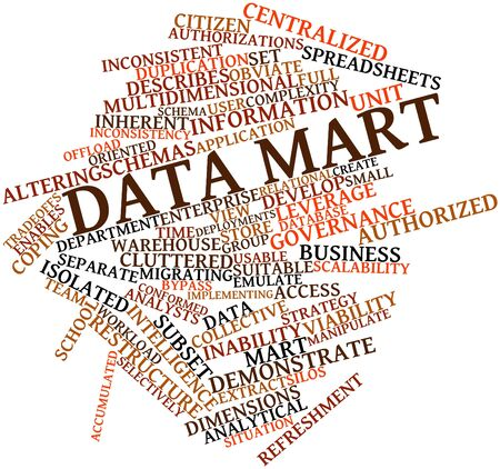 incorporate: Abstract word cloud for Data mart with related tags and terms Stock Photo