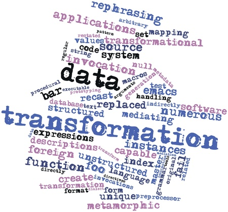 executable: Abstract word cloud for Data transformation with related tags and terms Stock Photo