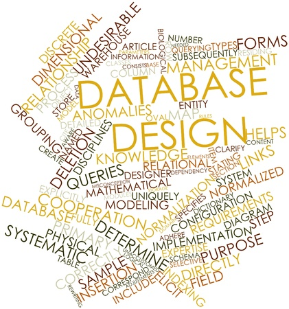 elicit: Abstract word cloud for Database design with related tags and terms