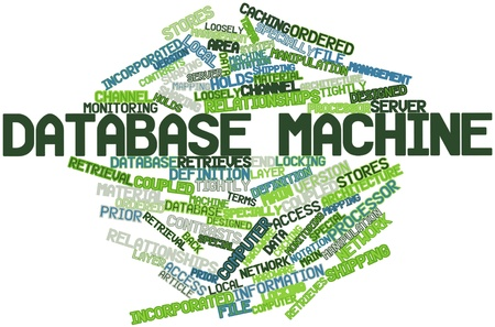 Abstract word cloud for Database machine with related tags and terms