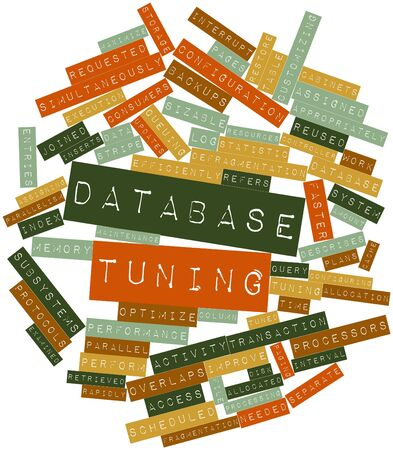 Abstract word cloud for Database tuning with related tags and terms