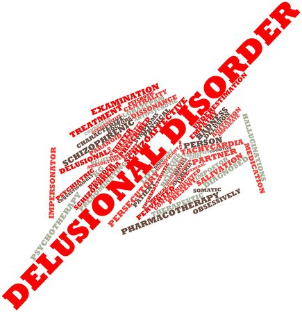 conducted: Abstract word cloud for Delusional disorder with related tags and terms