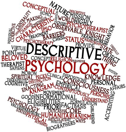 descriptive: Abstract word cloud for Descriptive psychology with related tags and terms Stock Photo