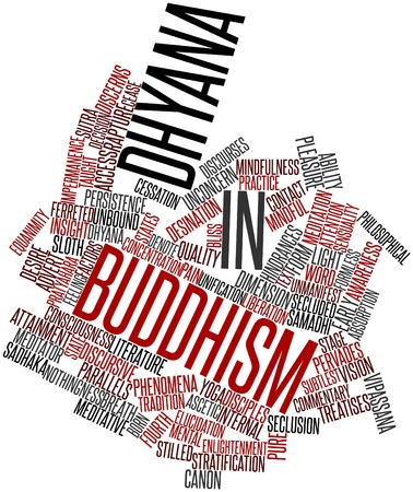dhyana: Abstract word cloud for Dhyana in Buddhism with related tags and terms Stock Photo