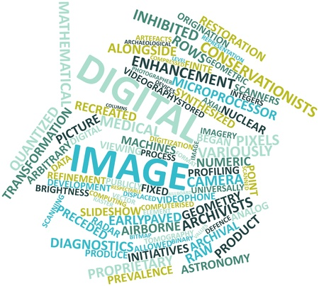preceded: Abstract word cloud for Digital image with related tags and terms
