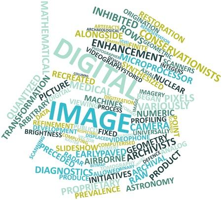 arbitrario: Nube palabra abstracta para imagen digital con etiquetas y términos relacionados Foto de archivo