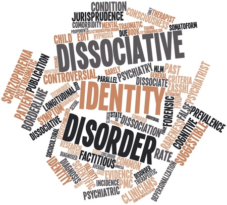 monograph: Abstract word cloud for Dissociative identity disorder with related tags and terms Stock Photo