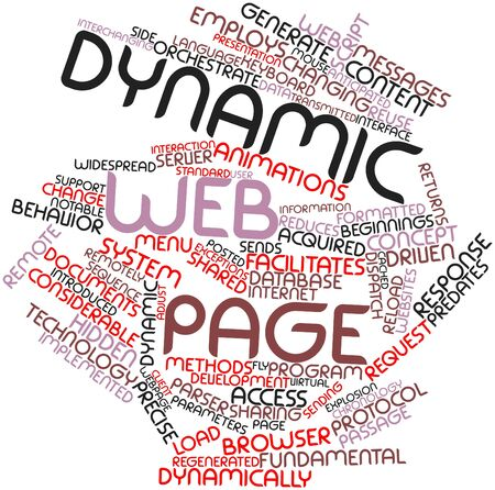 chronology: Abstract word cloud for Dynamic web page with related tags and terms Stock Photo