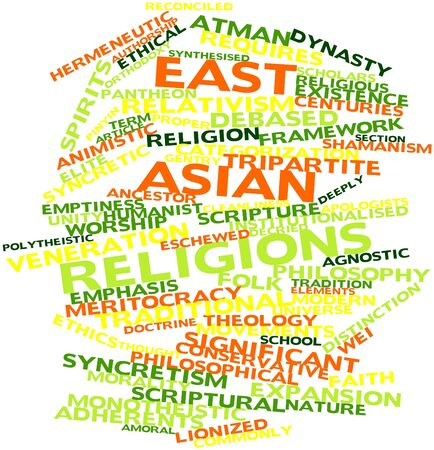 Abstract word cloud for East Asian religions with related tags and terms Stock Photo - 16632453
