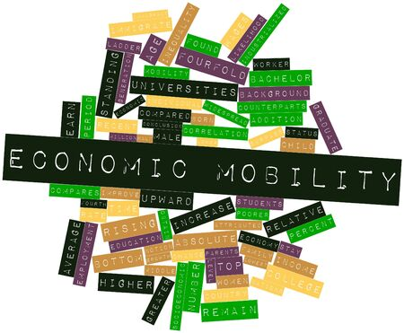 approximately: Abstract word cloud for Economic mobility with related tags and terms Stock Photo