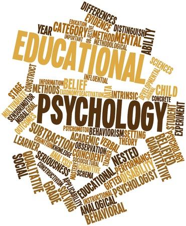 COGNICION: Nube palabra abstracta para la psicología educativa con las etiquetas y términos relacionados Foto de archivo