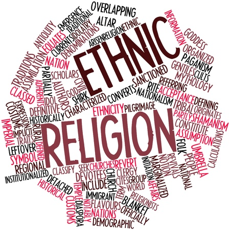 arisen: Abstract word cloud for Ethnic religion with related tags and terms Stock Photo