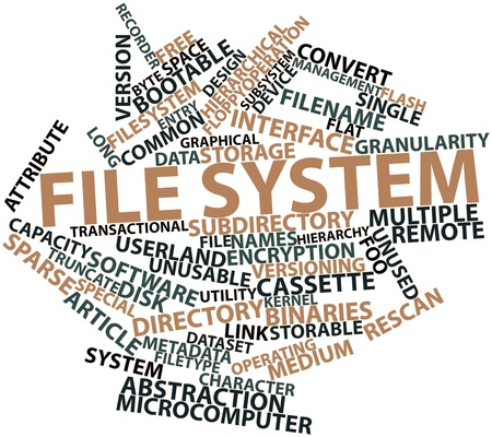 Abstract word cloud for File system with related tags and terms Stock Photo - 16632342