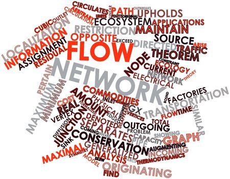 arbitrario: Nube palabra abstracta para la red de flujo con etiquetas y términos relacionados Foto de archivo