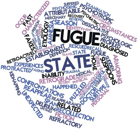 attributable: Abstract word cloud for Fugue state with related tags and terms Stock Photo