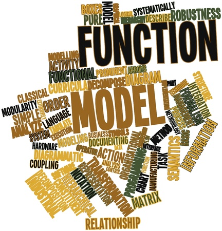 organisational: Abstract word cloud for Function model with related tags and terms Stock Photo