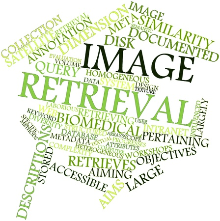 Abstract word cloud for Image retrieval with related tags and terms Stock Photo - 16632813
