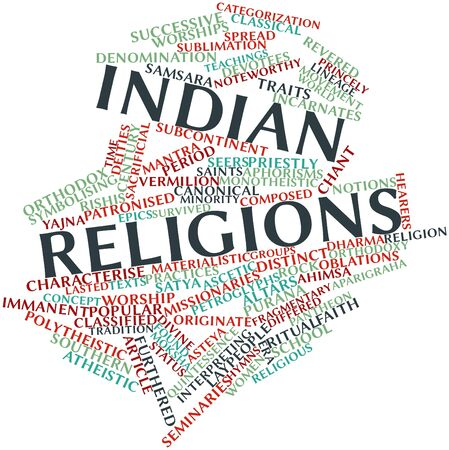 ahimsa: Abstract word cloud for Indian religions with related tags and terms Stock Photo