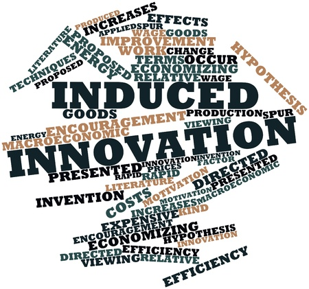 macroeconomic: Abstract word cloud for Induced innovation with related tags and terms