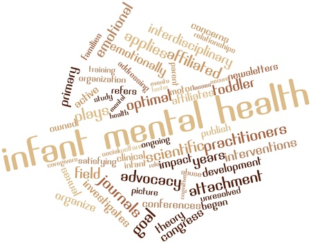 mental work: Abstract word cloud for Infant mental health with related tags and terms Stock Photo