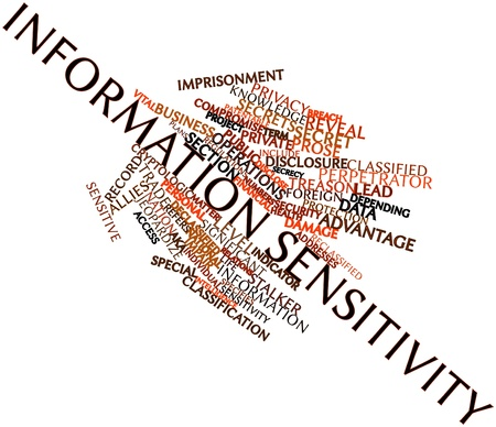 Abstract word cloud for Information sensitivity with related tags and terms Stock Photo - 16631302