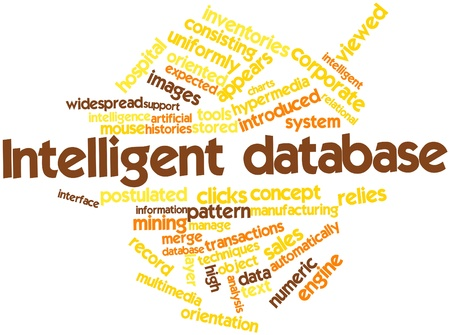 Abstract word cloud for Intelligent database with related tags and terms photo
