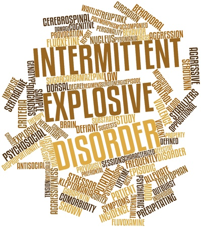 remorse: Abstract word cloud for Intermittent explosive disorder with related tags and terms Stock Photo