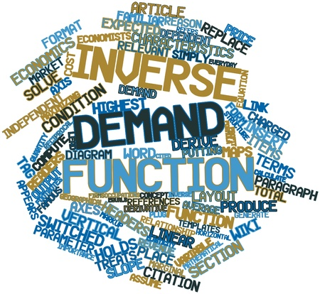 Abstract word cloud for Inverse demand function with related tags and terms Stock Photo