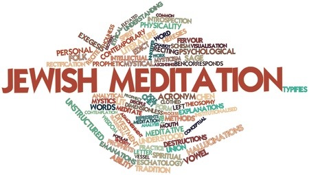 edicto: Nube palabra abstracta para la meditaci�n jud�a con etiquetas y t�rminos relacionados Foto de archivo