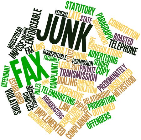 to sue: Abstract word cloud for Junk fax with related tags and terms
