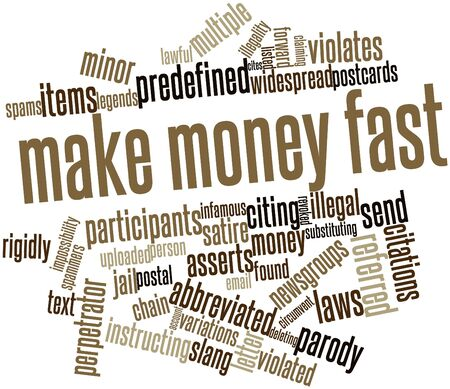 violated: Abstract word cloud for Make Money Fast with related tags and terms Stock Photo
