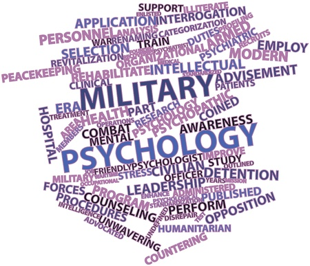 wartime: Abstract word cloud for Military psychology with related tags and terms Stock Photo