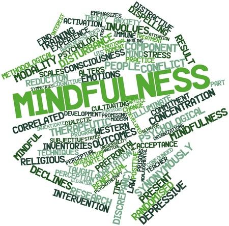 mindfulness: Abstract woordwolk voor Mindfulness met gerelateerde tags en voorwaarden