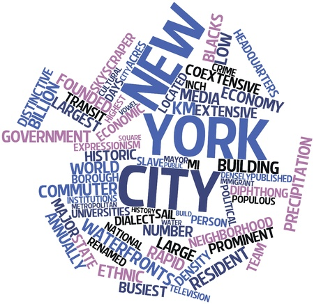 jure: Abstract word cloud for New York City with related tags and terms