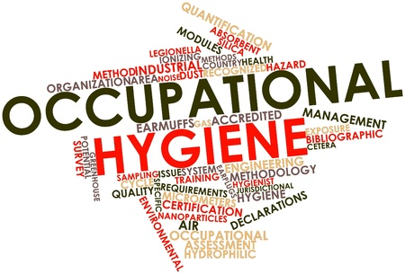 Abstract word cloud for Occupational hygiene with related tags and terms photo