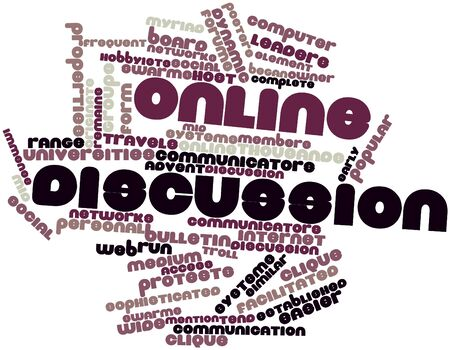 originate: Abstract word cloud for Online discussion with related tags and terms Stock Photo