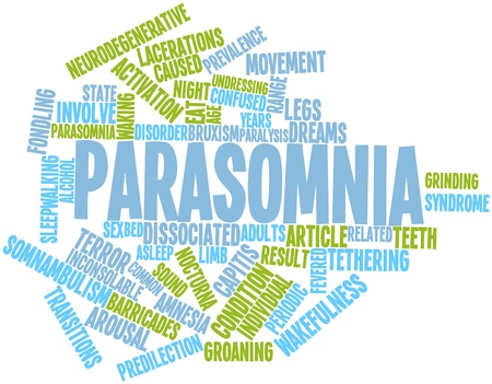 sexual activity: Abstract word cloud for Parasomnia with related tags and terms Stock Photo