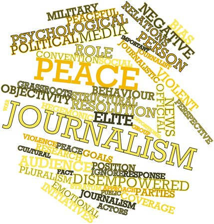 Abstract word cloud for Peace journalism with related tags and terms Stock Photo