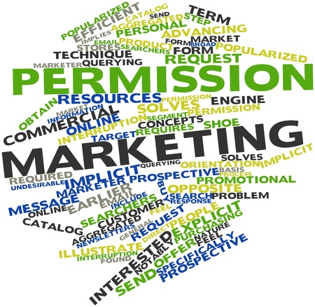 implies: Abstract word cloud for Permission marketing with related tags and terms