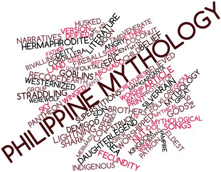 slain: Abstract word cloud for Philippine mythology with related tags and terms Stock Photo